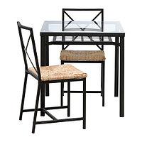 Стол и 2 стула ГРАНОС черный стекло ИКЕА, IKEA, фото 1
