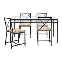 Стол и 4 стула ГРАНОС черный стекло ИКЕА, IKEA, фото 1
