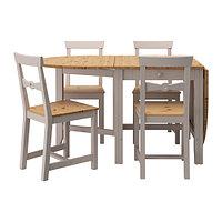 Стол и 4 стула ГЭМЛЕБИ светлая морилка антик, серый ИКЕА, IKEA