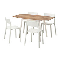 Стол и 4 стула ИКЕА ПС 2012 / ЯН-ИНГЕ бамбук, белый ИКЕА, IKEA, фото 1