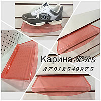 Полка обувная овальная красного цвета на эконом панель