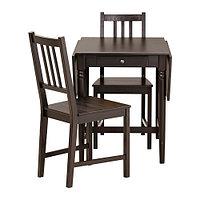 Стол и 2 стула ИНГАТОРП/СТЕФАН черно-коричневый ИКЕА, IKEA, фото 1