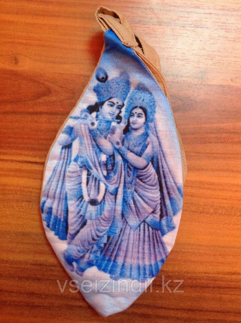 Мешочек для четок Кришна и Радха (бежево/голубой)