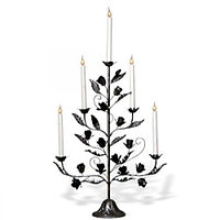 Канделябр LED Розетта серебро 5 свечей 112-81