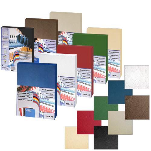 """Обложка для переплета, A3, 270гр, картон """"под кожу"""", матовая, белая ProfiOffice"""