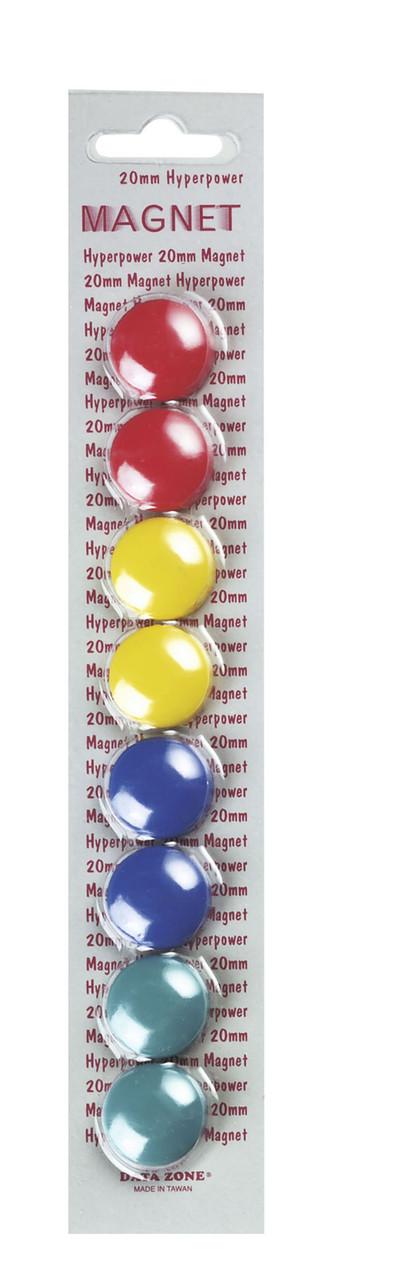 Магниты d=20мм, 8шт, цветные Data Zone