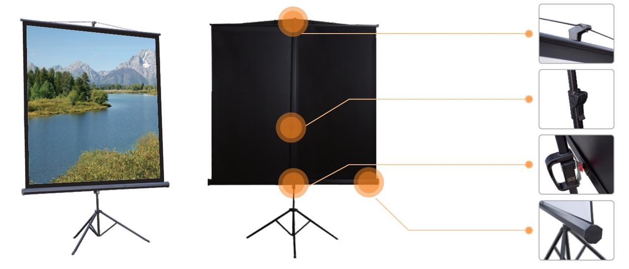 """Мобильный Экран на треноге Mr.Pixel 70"""" x 70"""" (1,78 x 1,78)"""