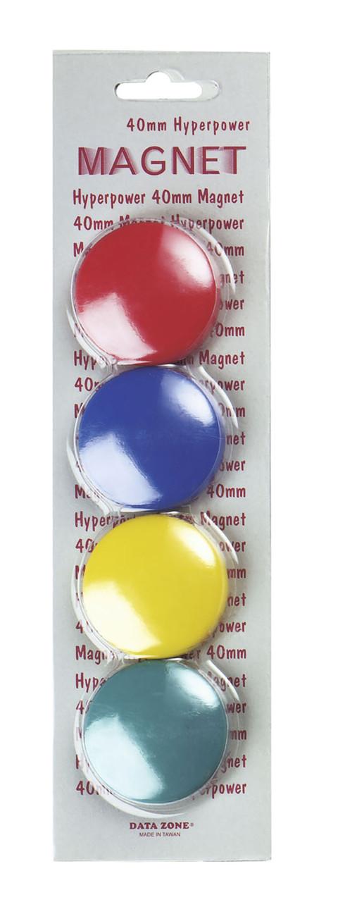 Магниты d=40мм, 4шт, цветные Data Zone