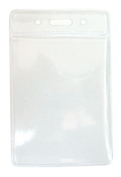 Бейдж вертикальный, 110x65мм, 0.45микр, без зажима, прозрачный Bindermax