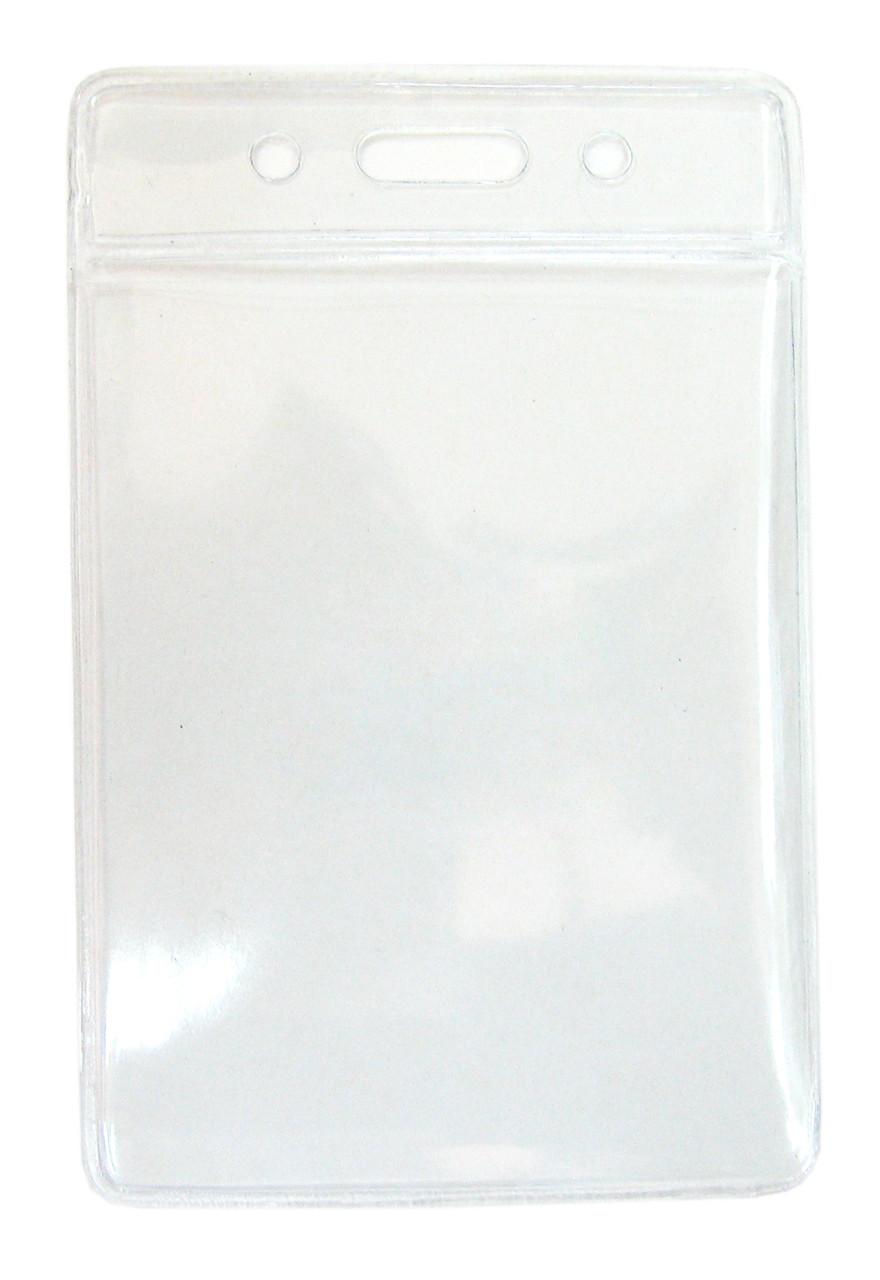 Бейдж вертикальный, 120x75мм, 0.25/0.68микр, без зажима, прозрачный Bindermax