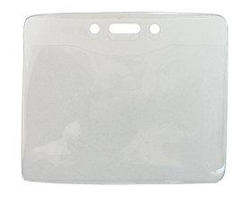 Бейдж горизонтальный, 105x85мм, 0.25/0.68микр, без зажима, прозрачный Bindermax