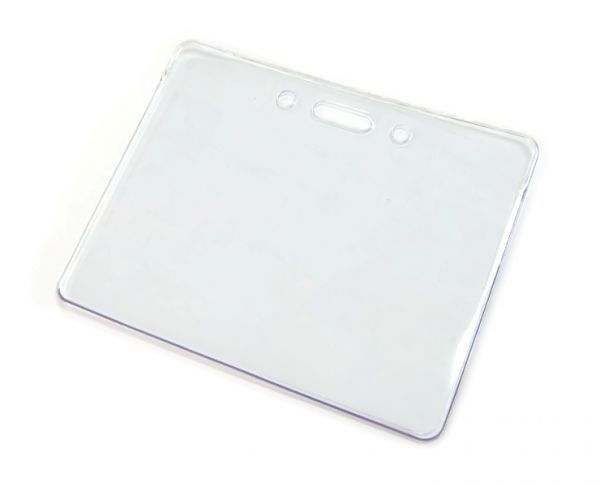 Бейдж горизонтальный, 95x75мм, 0.45микр, без зажима, прозрачный Bindermax