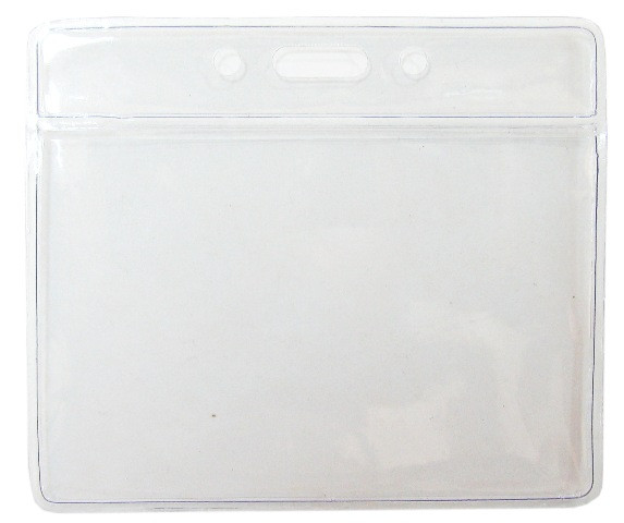 Бейдж горизонтальный, 95x80мм, 0.25микр, без зажима, прозрачный Bindermax