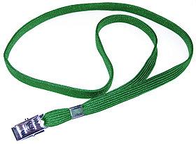 Ремешок для бейджа, 45см, c металлическим клипом, зеленый Bindermax