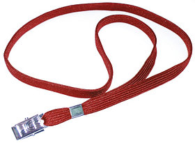 Ремешок для бейджа, 45см, c металлическим клипом, красный Bindermax