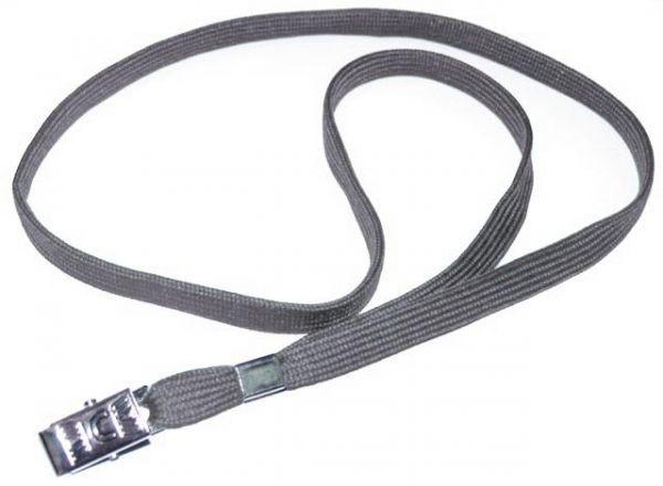 Ремешок для бейджа, 45см, c металлическим клипом, серый Bindermax