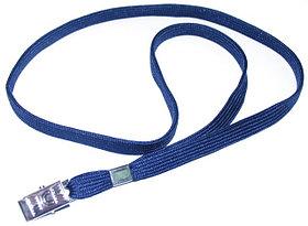 Ремешок для бейджа, 45см, c металлическим клипом, синий Bindermax
