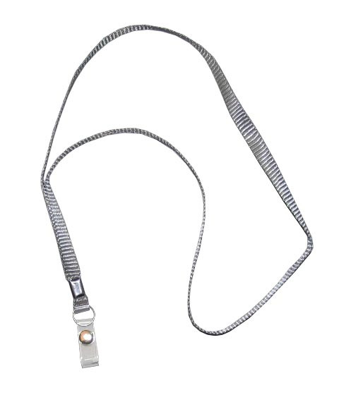 Ремешок для бейджа, 45см, c пластиковым клипом, серый Shuter
