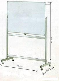 Доска магнитно-маркерная 90x120см, двухсторонняя, алюмин.подставка, 4колеса, Data Zone