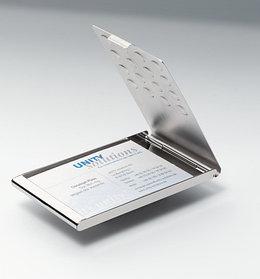 Визитница на 20 визиток, 95x58мм, карманная, хромированная Durable
