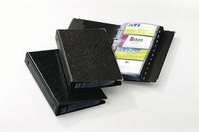 Визитница на 200 визиток, 145x255мм, колц.механизм, коричневая Durable
