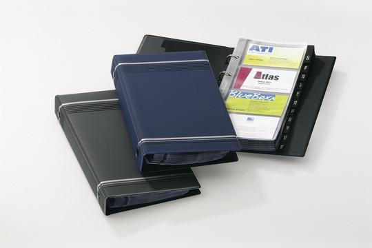 Визитница на 200 визиток, 145x255мм, колц.механизм, темно-синяя Durable