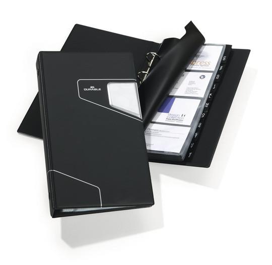 Визитница на 200 визиток, 145x255мм, разделитель A-Z, темно-серая Durable