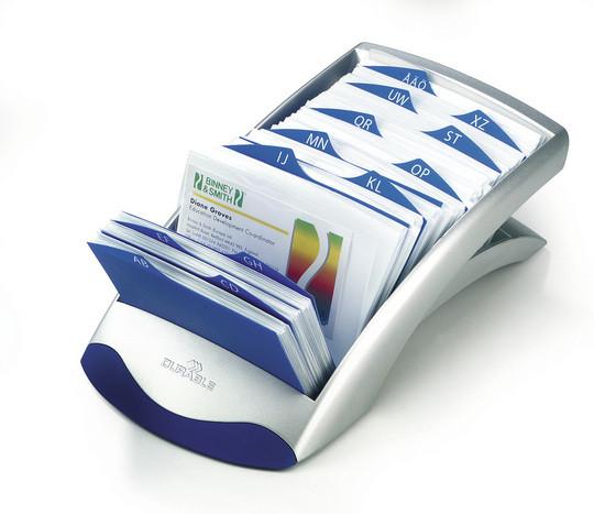 Визитница на 200 визиток, 245x131мм, перекидная картотека, серебристая Durable
