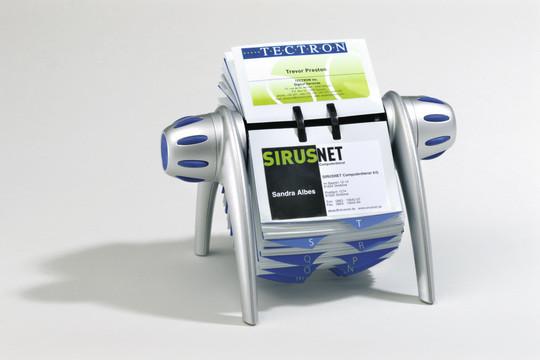 Визитница на 400 визиток, 215x185мм, вращающаяся, серебристая Durable