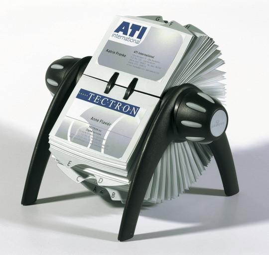Визитница на 400 визиток, 215x185мм, вращающаяся, черная Durable
