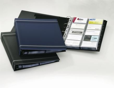 Визитница на 400 визиток, 255x315мм, разделитель A-Z, колц.механизм, черная Durable