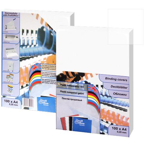 Обложка для переплета, А4, 200микр, пластиковая, прозрачная глянцевая ProfiOffice