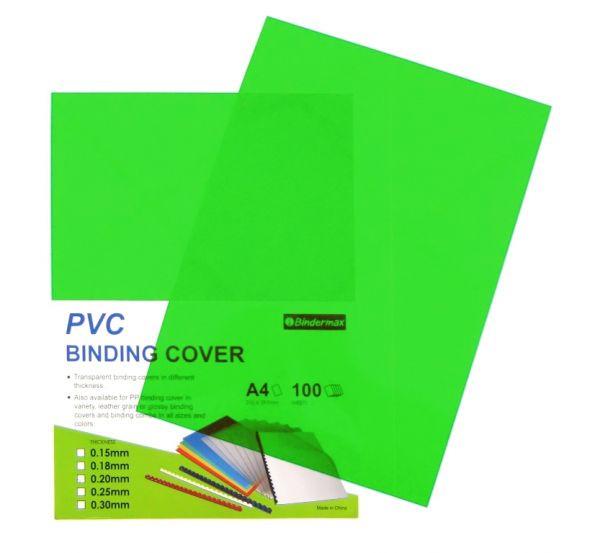 Обложка для переплета, A4, 200микр, пластиковая, прозрачная зеленая Bindermax