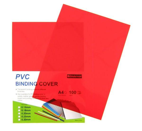 Обложка для переплета, A4, 200микр, пластиковая, прозрачная красная Bindermax
