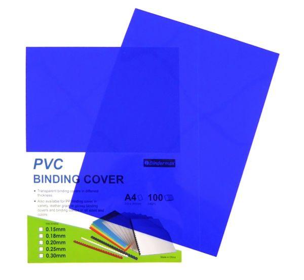 Обложка для переплета, A4, 200микр, пластиковая, прозрачная синяя Bindermax