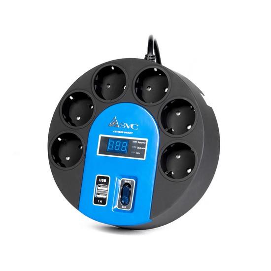 Сетевой фильтр, SVC, UFO G-4006-1.5BB, 6 вых.: Shuko CEE7, 1,5 м., USB-порт 2*5В/1А, Задержка включе