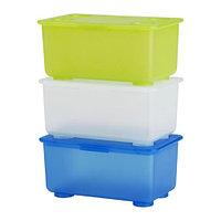 ГЛИС Контейнер с крышкой, белый/светло-зеленый, синий, фото 1
