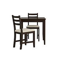 Стол и 2 стула ЛЕРХАМН черно-коричневый Рамна бежевый ИКЕА, IKEA, фото 1