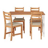 Стол и 4 стула ЛЕРХАМН светлая морилка антик, Виттарид бежевый ИКЕА, IKEA, фото 1