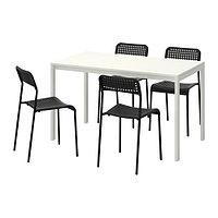 Стол и 4 стула МЕЛЬТОРП / АДДЕ белый черный ИКЕА, IKEA