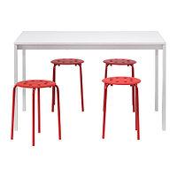 Стол и 4 табурета МЕЛЬТОРП / МАРИУС белый, красный ИКЕА, IKEA, фото 1