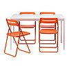 Стол и 4 стула МЕЛЬТОРП / НИССЕ белый оранжевый ИКЕА, IKEA