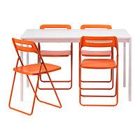 Стол и 4 стула МЕЛЬТОРП / НИССЕ белый оранжевый ИКЕА, IKEA, фото 1