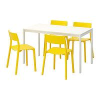 Стол и 4 стула МЕЛЬТОРП / ЯН-ИНГЕ белый желтый ИКЕА, IKEA