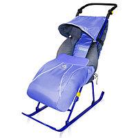 Cанки-коляска ТИМКА Т2К Комфорт колеса Лаванд (Синий) Ника