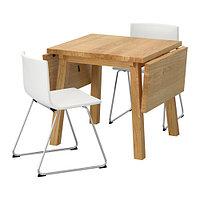 Стол и 2 стула МОККЕЛЬБЮ / БЕРНГАРД дуб белый ИКЕА, IKEA, фото 1