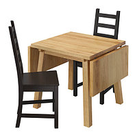 Стол и 2 стула МОККЕЛЬБЮ / КАУСТБИ дуб, коричнево-чёрный ИКЕА, IKEA, фото 1