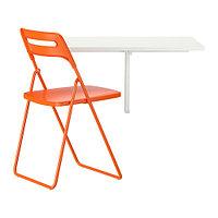Стол и 1 стул НОРБЕРГ / НИССЕ белый оранжевый ИКЕА, IKEA, фото 1