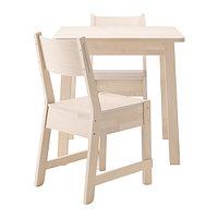 Стол и 2 стула НОРРОКЕР / НОРРОКЕР белый береза ИКЕА, IKEA