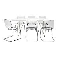 Стол и 6 стульев ОППЕБЮ/ БЭККАРИД / ТОБИАС белый ИКЕА, IKEA